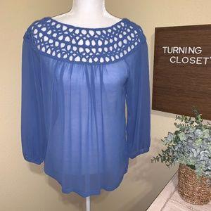 Women's Medium Blue Sheer Blouse UMGEE